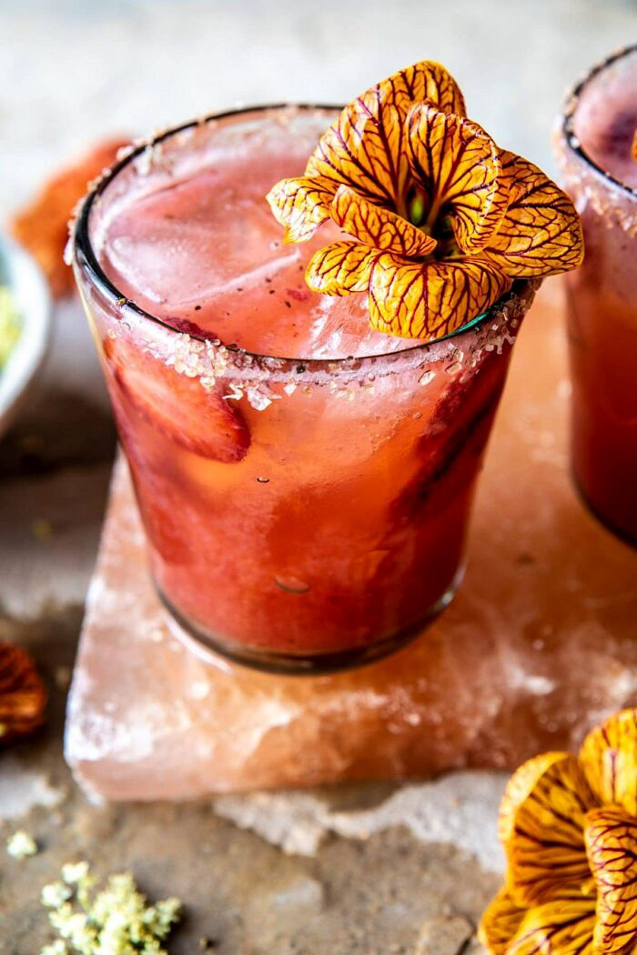 close up photo of Strawberry Hibiscus Ginger Margarita