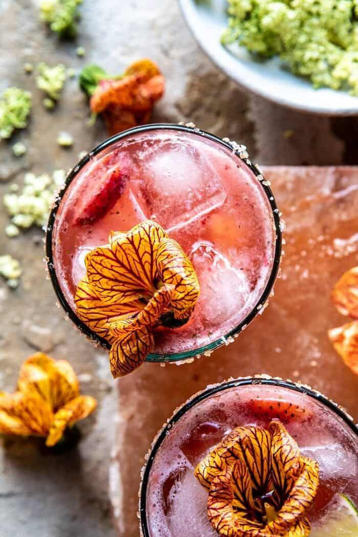 close up overhead photo of Strawberry Hibiscus Ginger Margarita