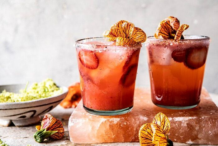 horizontal photo of Strawberry Hibiscus Ginger Margarita