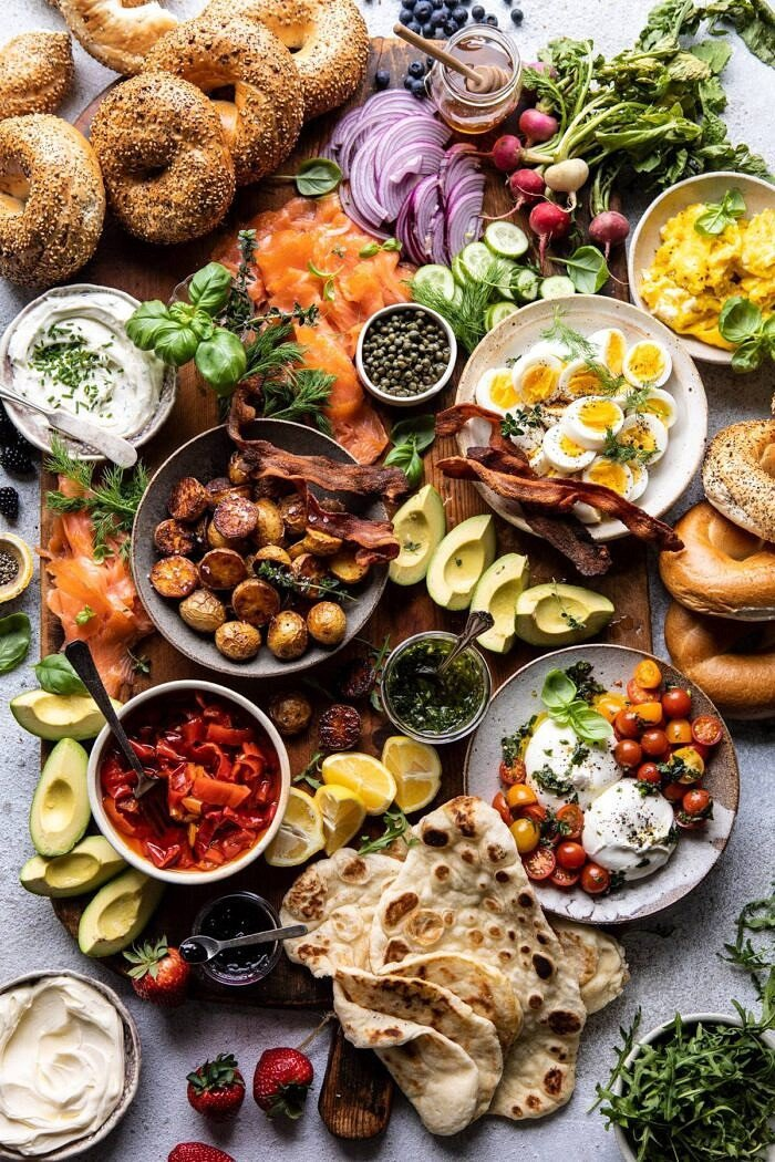 overhead photo of Ultimate Spring Brunch Board