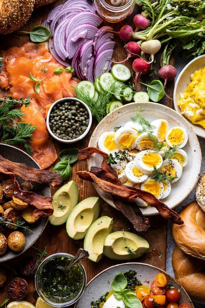 overhead photo of Ultimate Spring Brunch Board, close up on hard board eggs