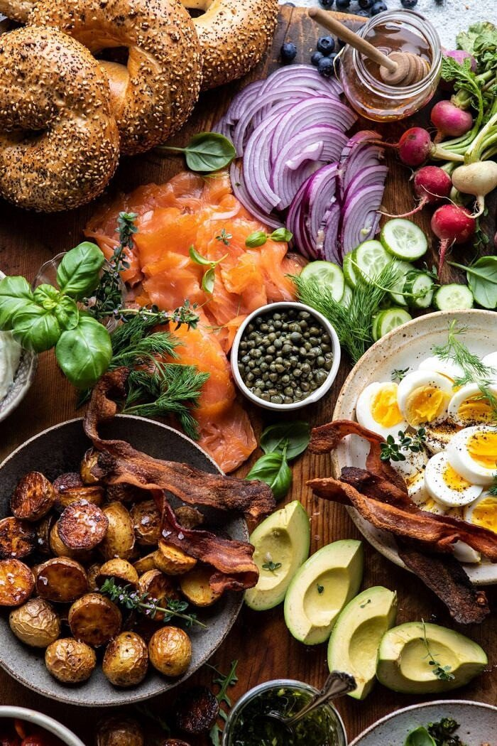 overhead close up photo of Ultimate Spring Brunch Board