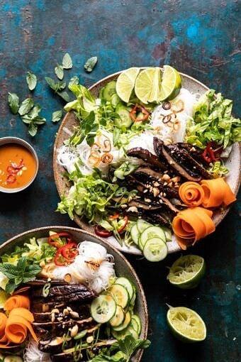 Vietnamese Rice Noodle Salad with Mushrooms and Spicy Peanut Vinaigrette | halfbakedharvest.com #healthy #salad #springrecipes #Asian