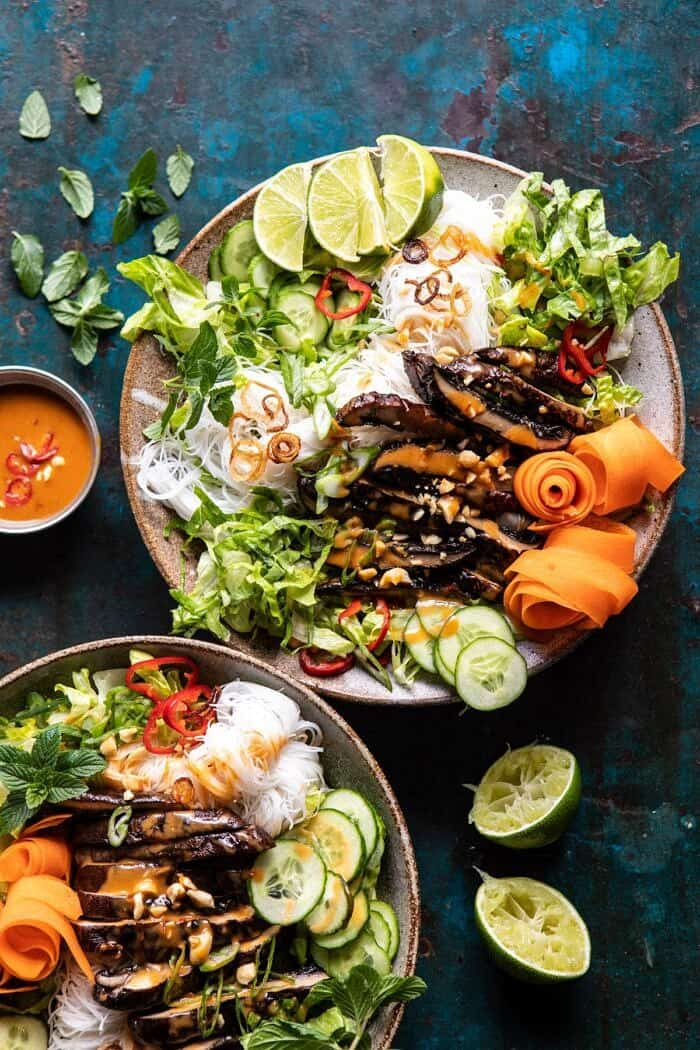 Vietnamese Rice Noodle Salad with Mushrooms and Spicy Peanut Vinaigrette | halfbakedharvest.com #healthy #salad #springrecipes #Asian