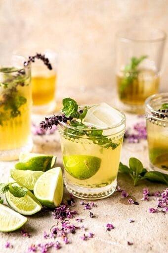White Tea and Muddled Basil Mojito | halfbakedharvest.com #cocktails #healthyrecipes #spring #summer #mojito #rum