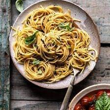 20 Minute Garlic Basil Brown Butter Pasta | halfbakedharvest.com #pasta #easyrecipe #tomatoes #basil #easyrecipes #spring #summer