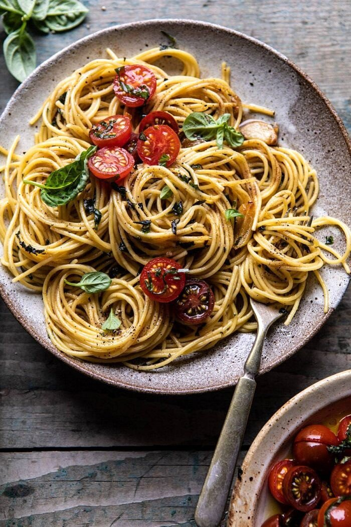 overhead close up photo of 20 Minute Garlic Basil Brown Butter Pasta