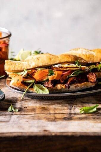 30 Minute Basil Chicken Banh Mi Sandwich | halfbakedharvest.com #easyrecipe #healthyrecipes #chicken #thai #Vietnamese