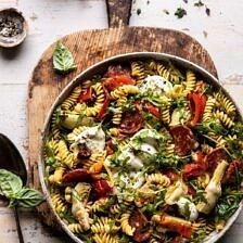Antipasto Pasta Salad with Herby Parmesan Vinaigrette.