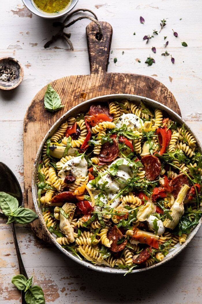 overhead photo of Antipasto Pasta Salad with Herby Parmesan Vinaigrette