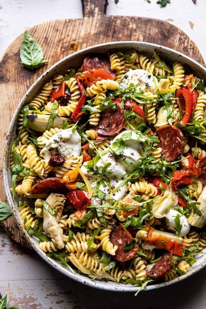 overhead close up photo of Antipasto Pasta Salad with Herby Parmesan Vinaigrette