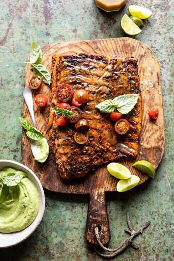 Honey Mustard Grilled Salmon with Avocado Basil Sauce.