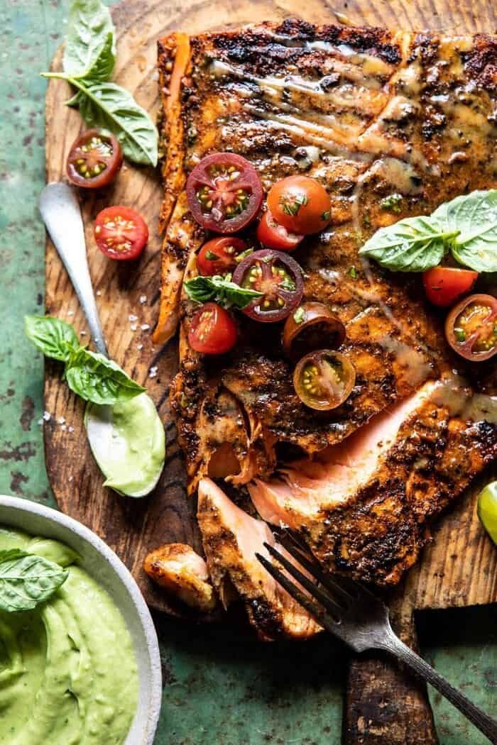 Honey Mustard Grilled Salmon with Avocado Basil Sauce | halfbakedharvest.com #grilling #salmon #summer #healthyrecipes