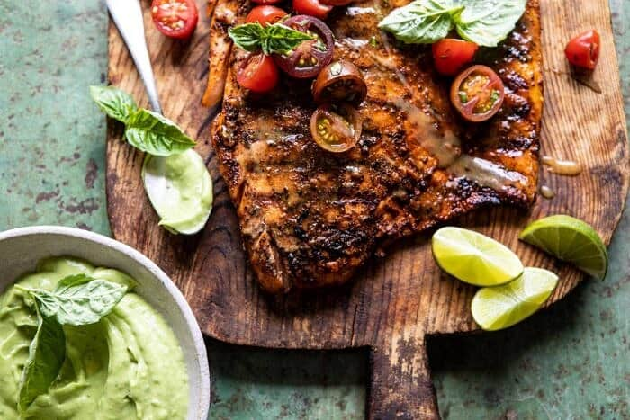 horizontal photo of Honey Mustard Grilled Salmon with Avocado Basil Sauce