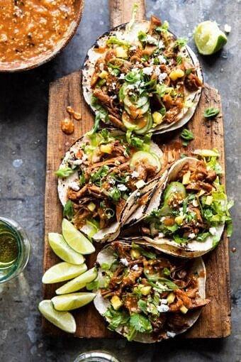 Instant Pot Korean Bulgogi BBQ Tacos | halfbakedharvest.com #tacos #instantpot #easyrecipes #dinner #chicken