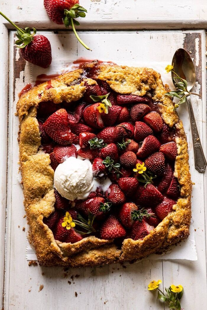 overhead photo of Jammy Strawberry Galette with ice cream on top of galette