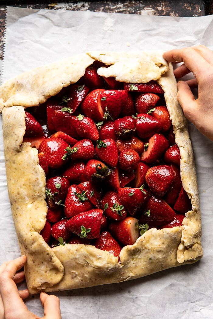 Jammy Strawberry Galette | halfbakedharvest.com #strawberries #tart #summer #fruit #springrecipes