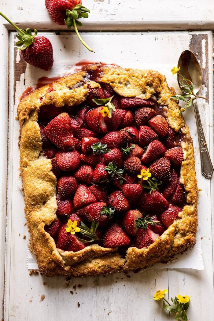 overhead photo of Jammy Strawberry Galette
