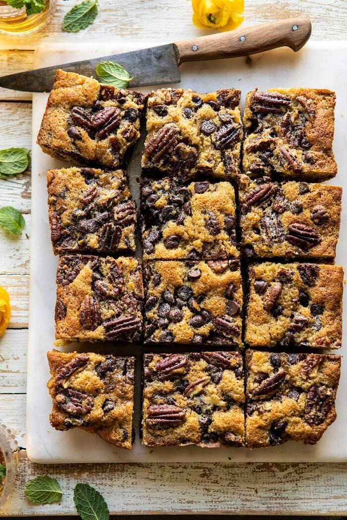 overhead photo of Kentucky Derby Pie Chocolate Chip Cookie Bars