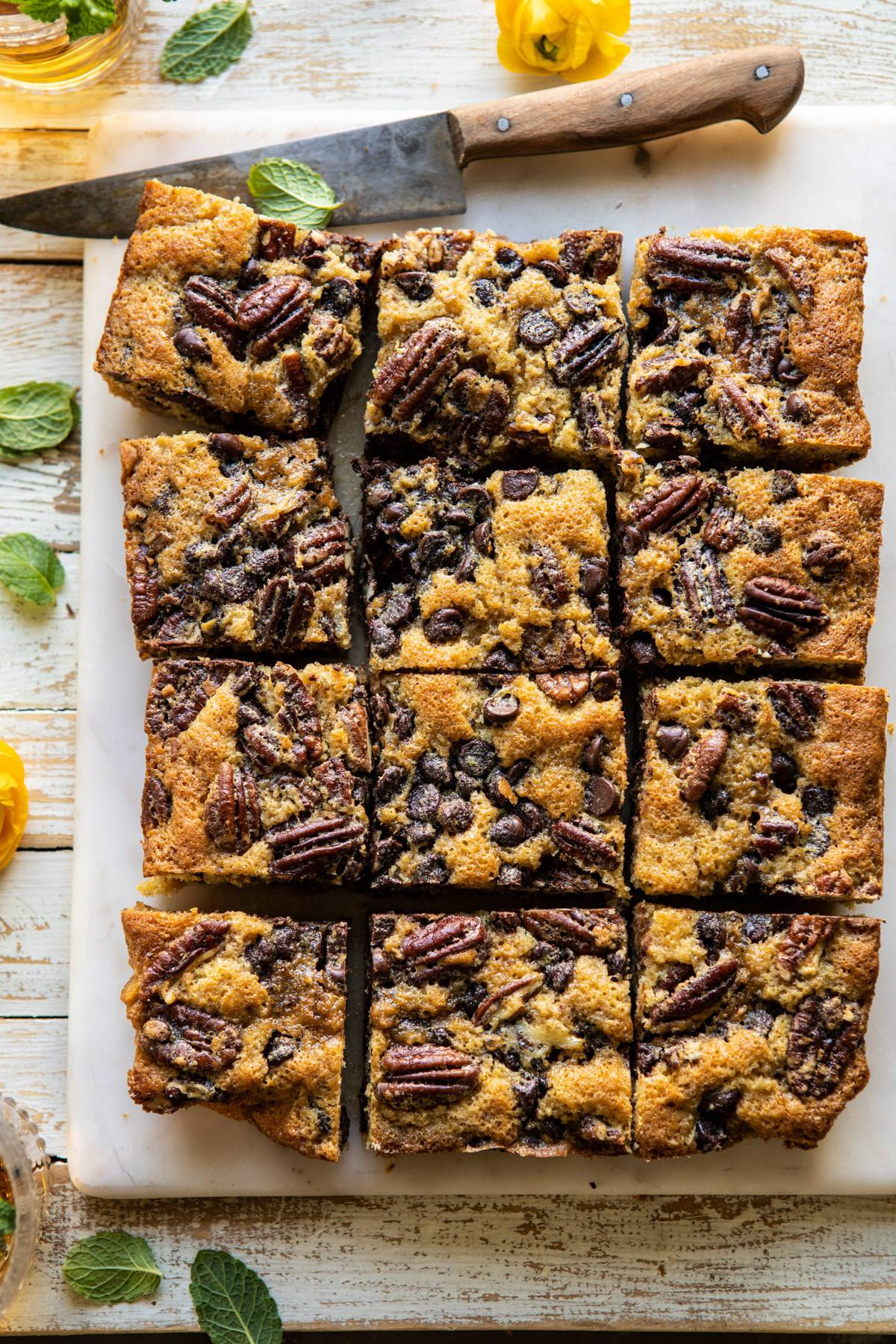 Kentucky Derby Pie Chocolate Chip Cookie Bars | halfbakedharvest.com #cookiebars #pecanpie #chocolatechip #dessert