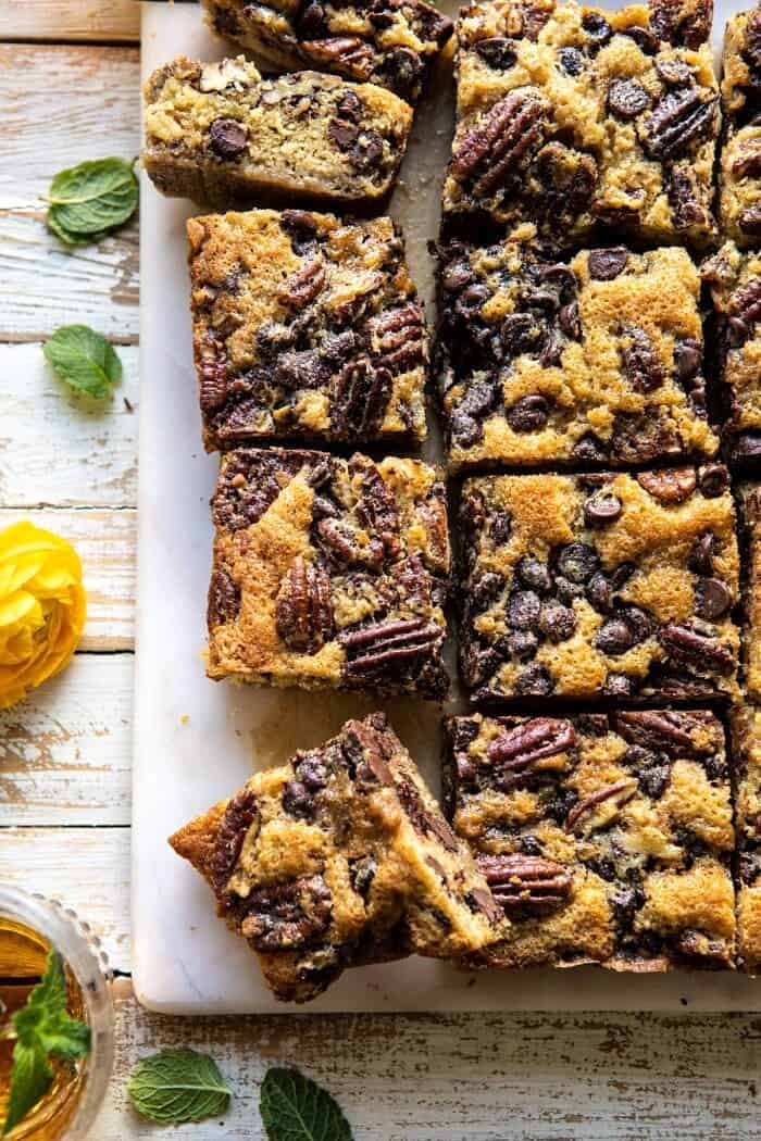 overhead close up photo Kentucky Derby Pie Chocolate Chip Cookie Bars
