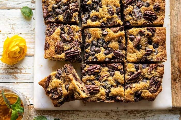 horizontal photo of Kentucky Derby Pie Chocolate Chip Cookie Bars