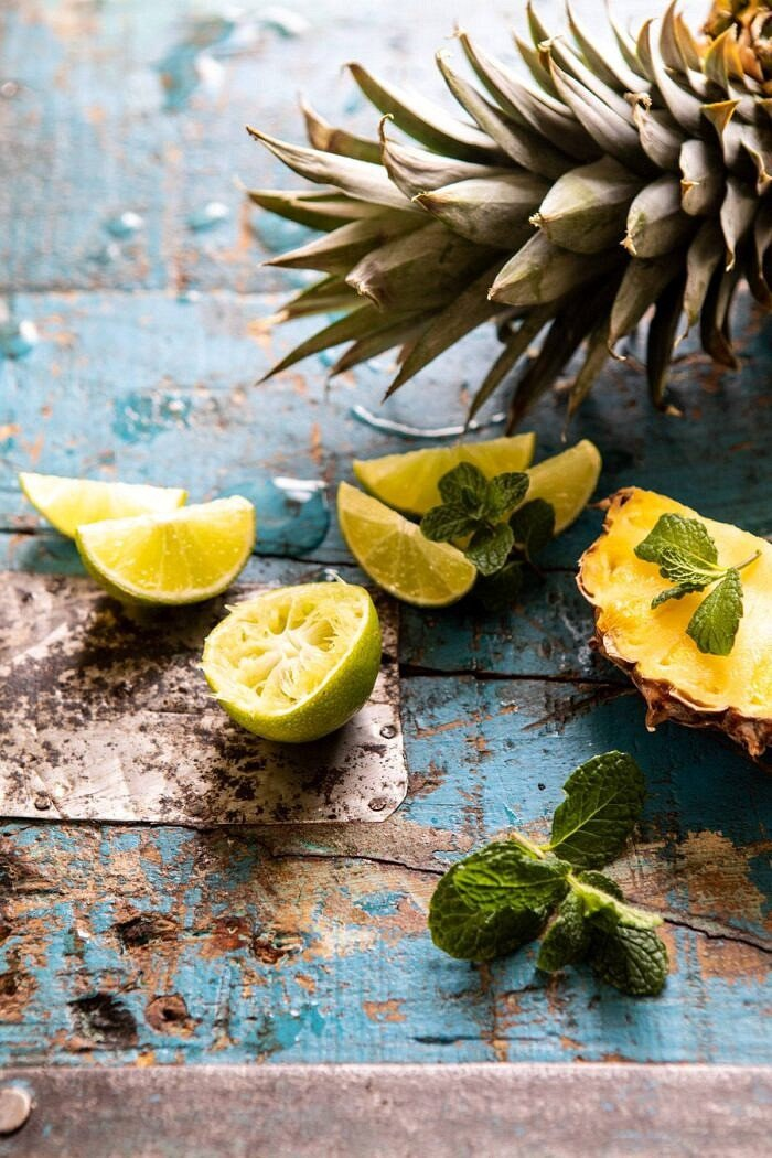 raw limes and pineapple