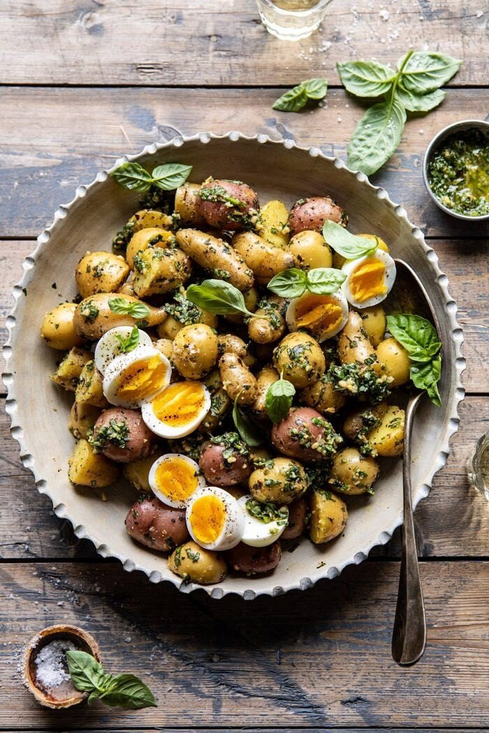 Pesto Potato Salad | halfbakedharvest.com #potatosalad #easyrecipes #pesto #summerrecipes