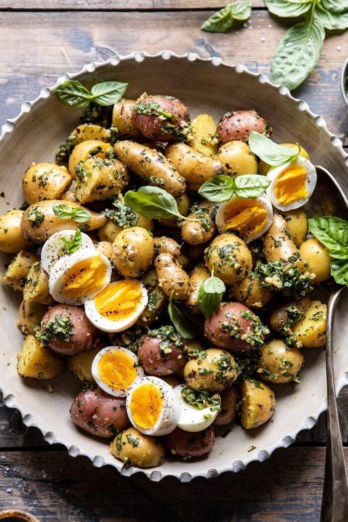 overhead close up photo of Pesto Potato Salad