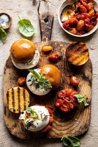 Roasted Caprese Burrata Sliders | halfbakedharvest.com #summerrecipes #appetizer #mothersday #burrata
