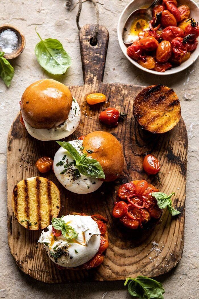 Roasted Caprese Burrata Sliders | halfbakedharvest.com #summerrecipes #appetizer #mothersday #burrata