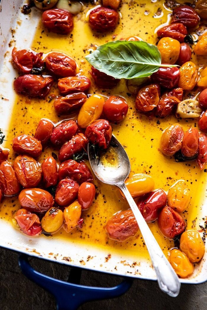 overhead photo of roasted tomatoes in pan