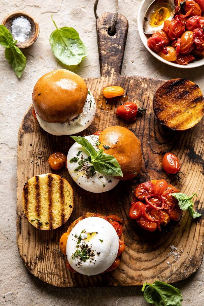 overhead close up photo of Roasted Caprese Burrata Sliders