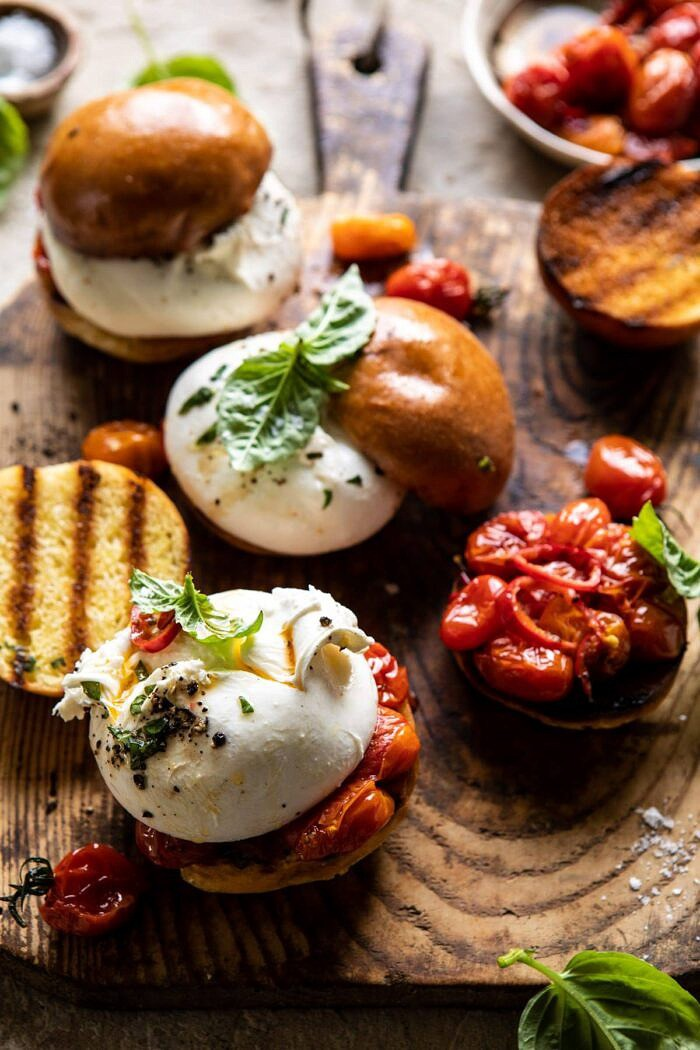 side angled photo of Roasted Caprese Burrata Sliders