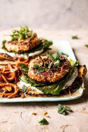Sesame Crusted Curried Salmon Burgers with Lemony Herbs | halfbakedharvest.com #salmon #healthy #burger #summer