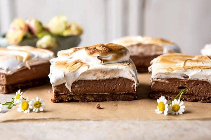 horizontal photo of S'mores Chocolate Mousse Bars