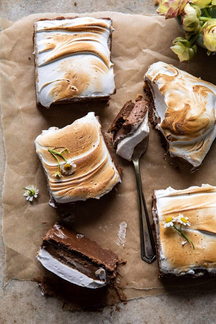 overhead photo S'mores Chocolate Mousse Bars