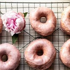 Strawberry Glazed Chai Doughnuts.