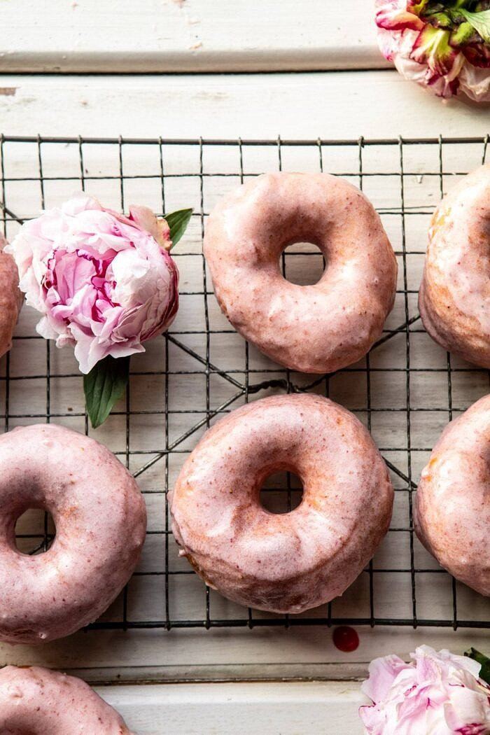 overhead photo of Strawberry Glazed Chai Doughnuts