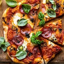 Sweet and Spicy Tomato Basil Pepperoni Pizza.