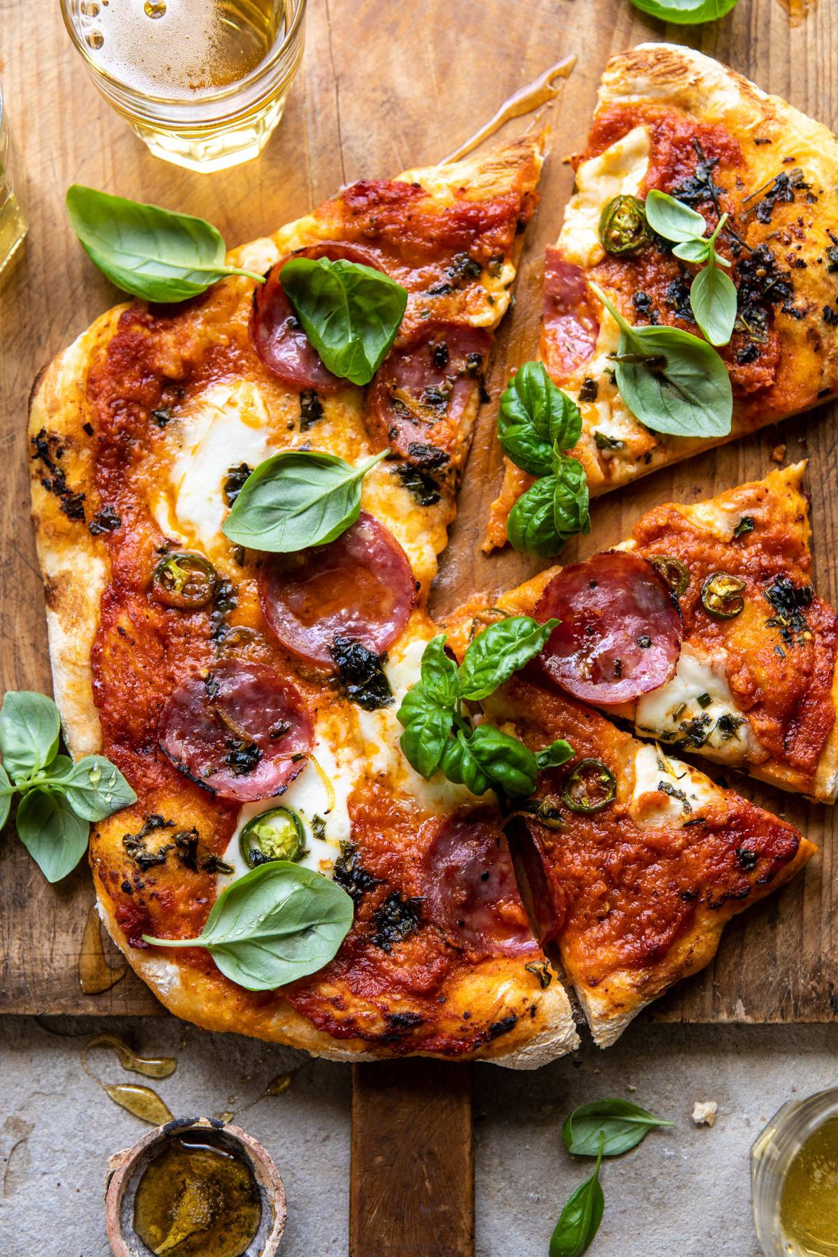 Sweet and Spicy Tomato Basil Pepperoni Pizza | halfbakedharvest.com #pizza #easyrecipes #cheese #summer #spring