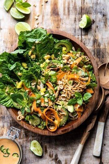 Thai Peanut Chicken Ramen Noodle Salad.
