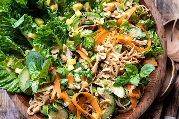 horizontal photo of Thai Peanut Chicken Ramen Noodle Salad