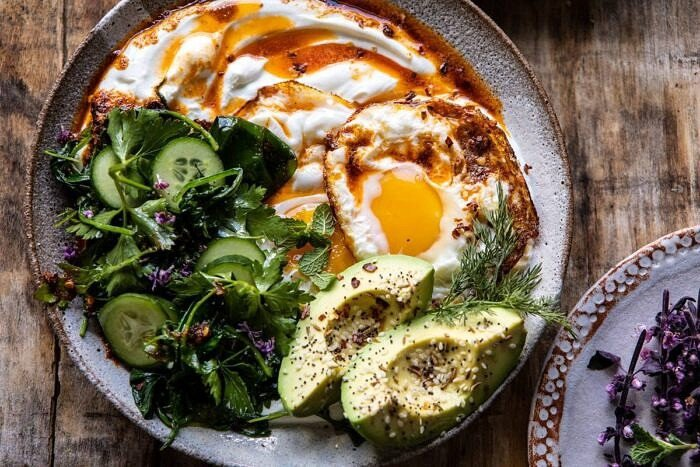 horizontal photo of Turkish Eggs with Chile Butter and Whipped Feta