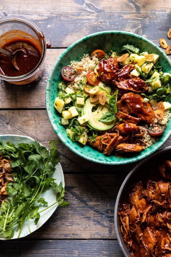 Weeknight Saucy Pineapple BBQ Chicken Bowls.