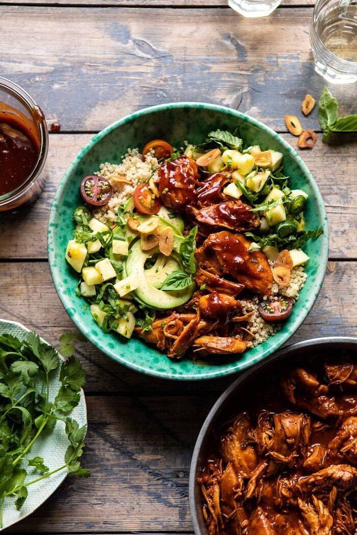 Weeknight Saucy Pineapple BBQ Chicken Bowls | halfbakedharvest.com #chicken #instantpot #slowcooker #pineapple #easyrecipes