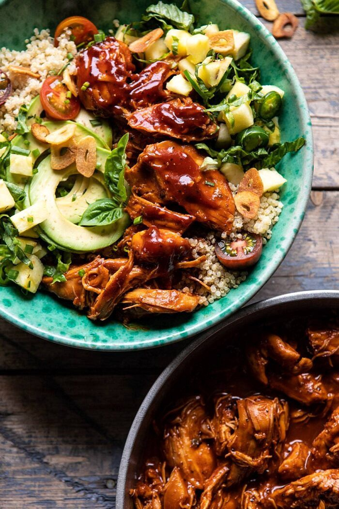 overhead close up photo of Weeknight Saucy Pineapple BBQ Chicken Bowls