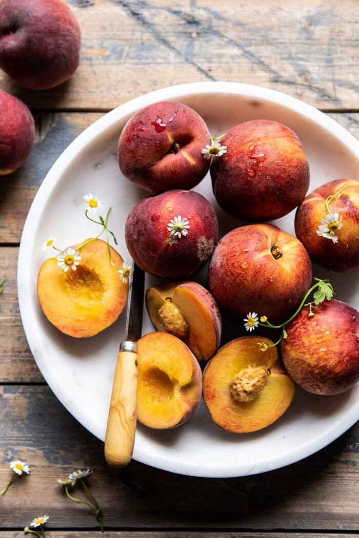 raw peaches in bowl