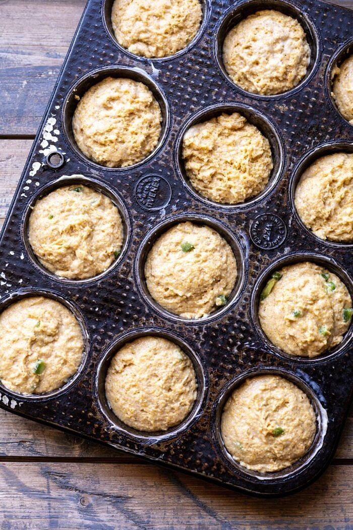Browned Butter Jalapeño Cornbread Muffins in pan before baking