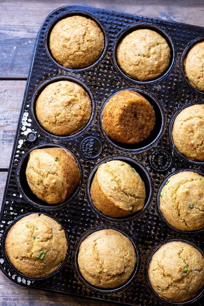 overhead photo of Browned Butter Jalapeño Cornbread Muffins in pan after baking